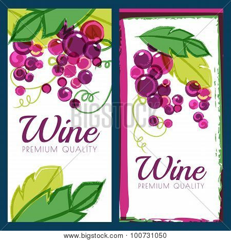 Vector Illustration Of Pink Grape Vine And Green Leaves. Set Of Colorful Watercolor Backgrounds.