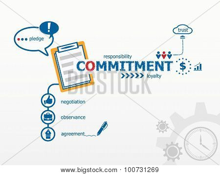 Commitment Concept And Notebook For Efficiency, Creativity, Intelligence.