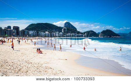 RIO DE JANEIRO, BRAZIL - APRIL 24, 2015: Copacabana Beachon April 24, 2015 in Rio de Janeiro. Brazil.