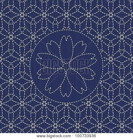 Traditional japanese needlework. Sashiko with sakura flower.