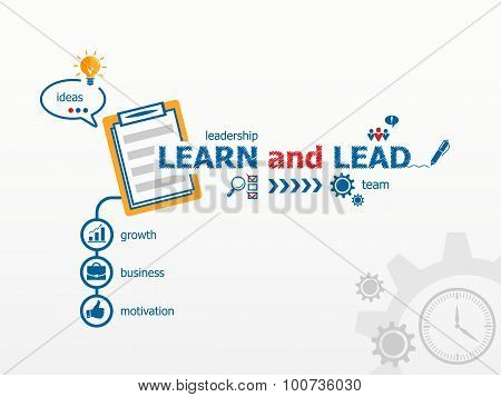 Learn And Lead Concept And Notebook For Efficiency, Creativity, Intelligence.