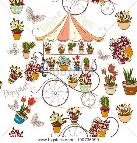 Seamless Pattern With Flower Shop Or Boutique Fully Of Flowers