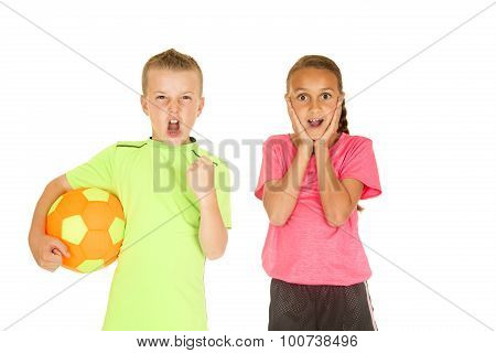 Boy Holding Soccer Ball Girl With Excited Facial Expression