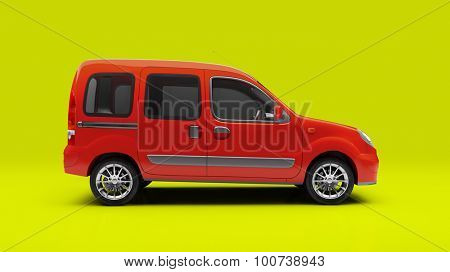 Light commercial small van (escort van) in studio