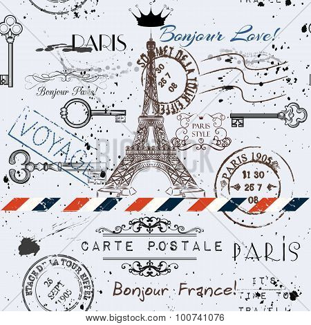Vector Seamless Background With Flower Eiffel Tower And Post Stamps Imitation Of Vintage Postcard In