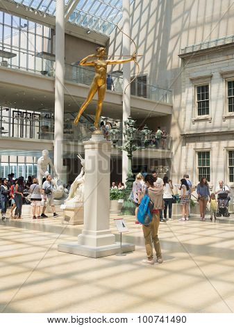 NEW YORK,USA- AUGUST 18,2015 : Golden statue of Diana at the Metropolitan Museum of Art in Manhattan