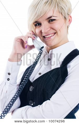 Girl with wire phone