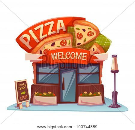 Pizzeria building with bright banner. Vector illustration