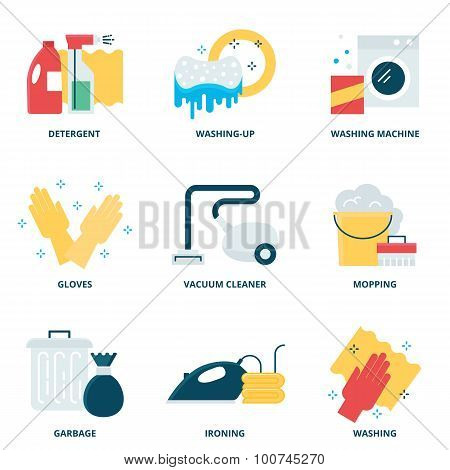 Cleaning Vector Icons Set Modern Flat Style