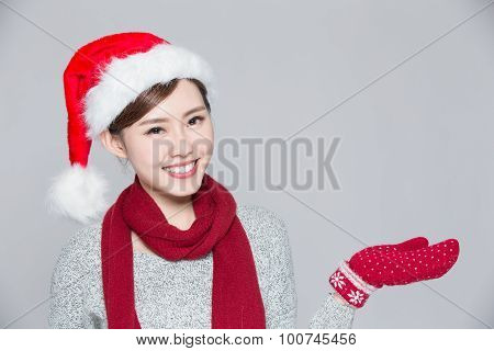 Woman Shows Something At Christmas