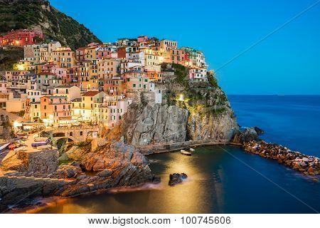 Twilight At Manarola Village In Italy