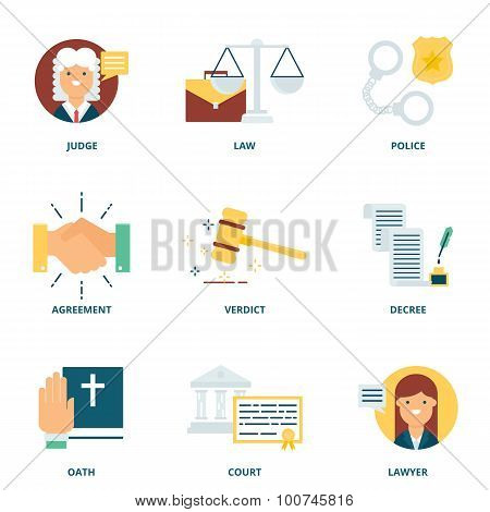 Law Vector Icons Set Modern Flat Style