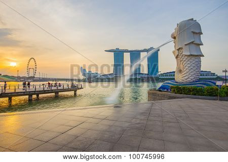 View Of Singapore City In The Morning