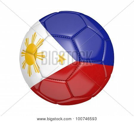 Football, also called a soccer ball, with the national flag colors of the Philippines