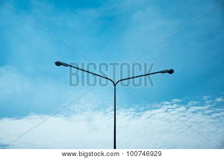 Road Lamp With Sky Background