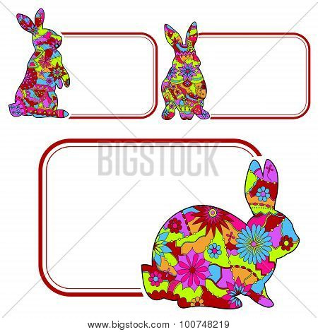 Set of banners with rabbits