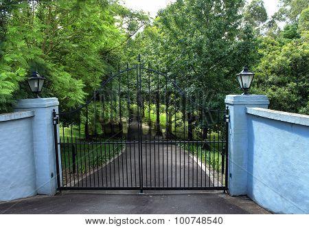 Black driveway entrance gates