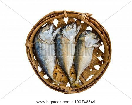 Mackerel Fish On Bamboo Tray Isolate White Background With Clippingpaththailand Stock Photo