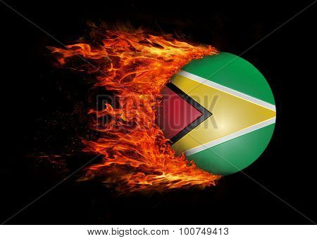 Flag With A Trail Of Fire - Guyana