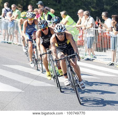 Triathlete Anja Knapp Cycling, Followed By Competitors