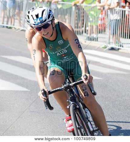 Close-up Of Triathlete Emma Jackson Cycling