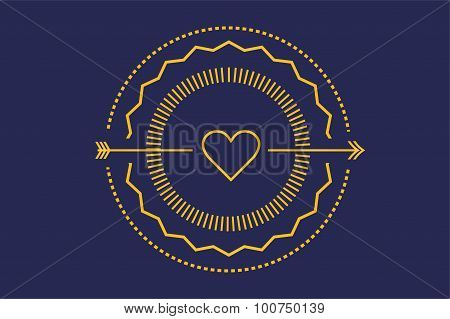 Hipster heart logo vector icon. Royal love