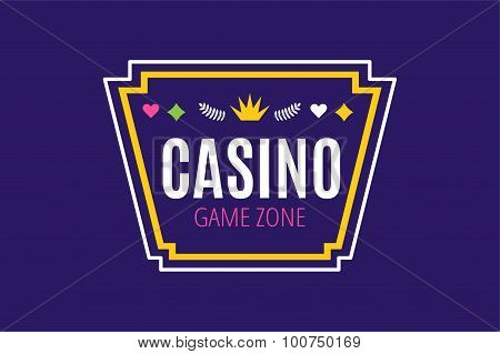 Casino logo icon poker cards or game and money