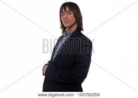 Serious man in black jacket