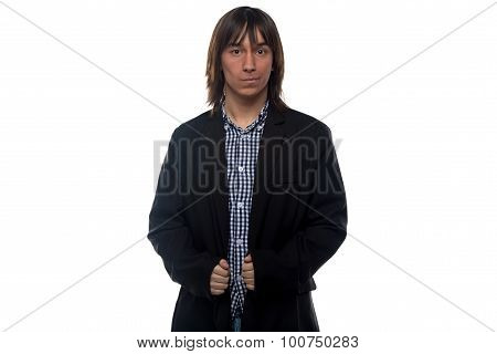 Serious young man in black jacket