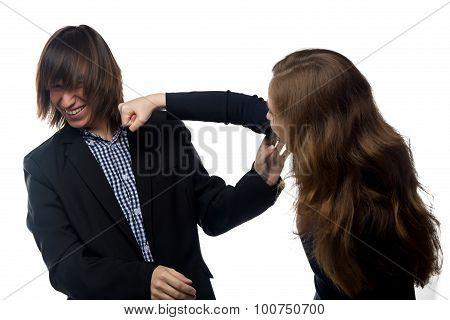 Angry woman and man