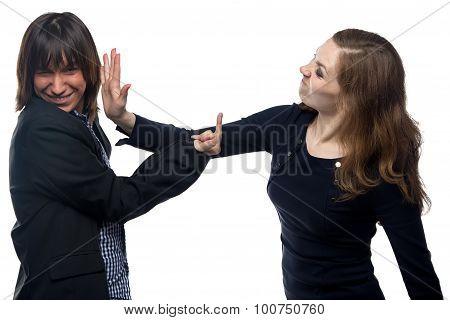 Woman hits a man