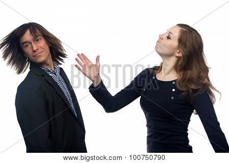 Young woman slaping man