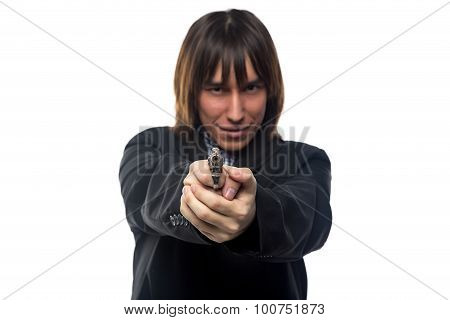Young man with the gun