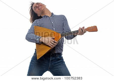 Dancing man with balalaika