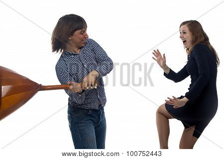 Aggressive man with balalaika and woman