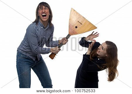 Angry young man and screaming woman