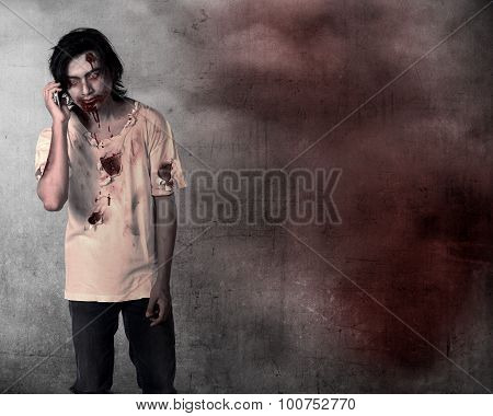 Creepy Male Zombie Talking Via Cellphone