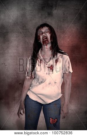 Creepy Asian Female Zombie