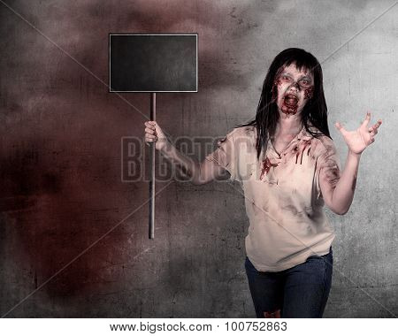 Creepy Female Zombie Holding Wooden Board