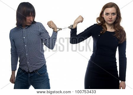 Confrontation of angry man and woman