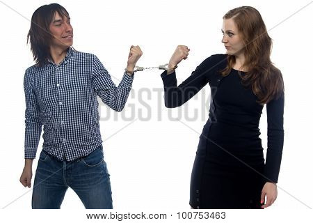 Confrontation of serious man and woman