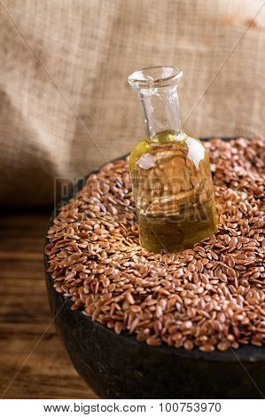 Bottle With Flax Oil In Seeds