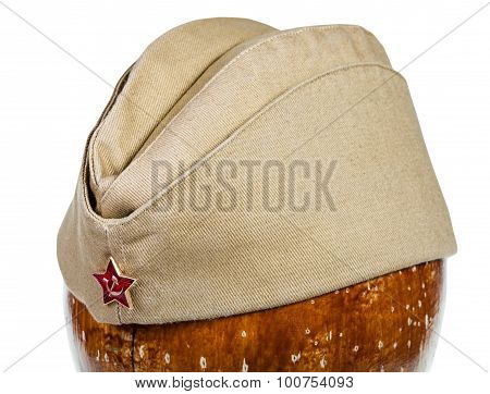 Military Green Garrison Cap With Soviet Red Star