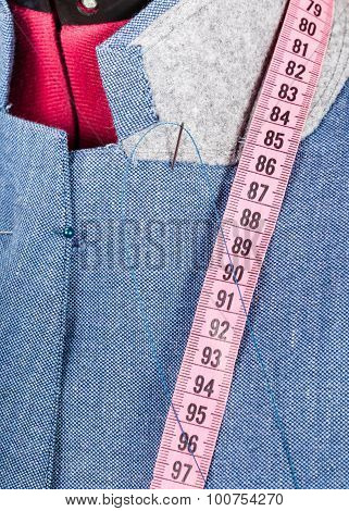Tailoring Of Collar For Blue Jacket On Dummy