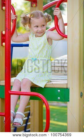 Happy Girl Play At Playground