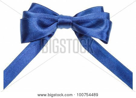 Real Blue Ribbon Bow With Vertically Cut Ends