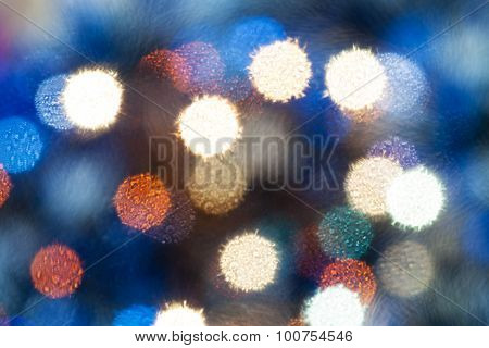 Blue Blurred Christmas Lights From Soft Filter