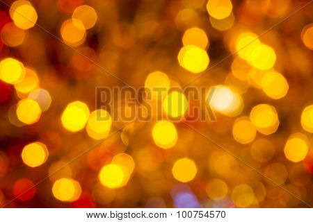 Dark Brown Yellow And Red Blurred Christmas Lights