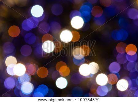 Dark Blue And Violet Shimmering Christmas Lights