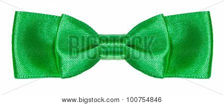Green Satin Double Bow Knot Isolated